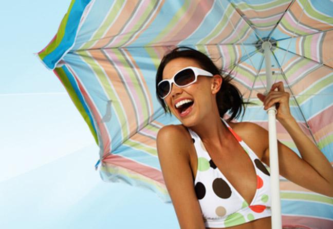 солнце, загар, зонт