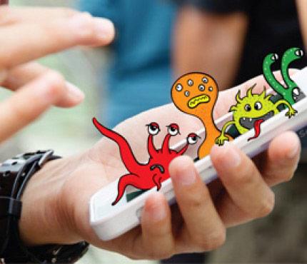 бактерии на смартфоне, телефоне