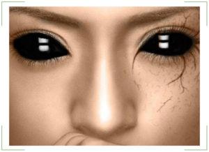 Черные, белые линзы на весь глаз